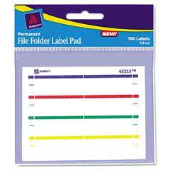 Avery Label Pads, File Folder, Permanent, 2/3 x 3 7/16, Assorted, 160/Pack