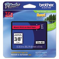 "Brother P-Touch TZe Standard Adhesive Laminated Labeling Tape, 3/8""w, Black on Red"