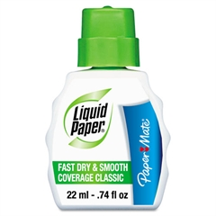 Paper Mate Liquid Paper Fast Dry Classic Correction Fluid, 22 ml Bottle, White