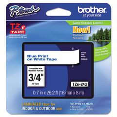 "Brother P-Touch TZe Standard Adhesive Laminated Labeling Tape, 3/4""w, Blue on White"