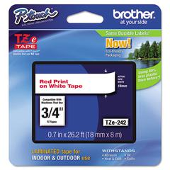 "Brother P-Touch TZe Standard Adhesive Laminated Labeling Tape, 3/4""w, Red on White"