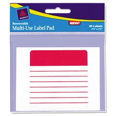 Removable Label Pads, 2-5/8 x 2-5/8, White, 40/Pack