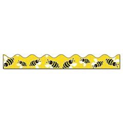 "Pacon Bordette Bee Dazzle Design Decorative Border, 2 1/4"" x 25ft, Black/White/Yellow"