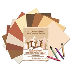 Multicultural Construction Paper, 76 lbs., 12 x 18, Assorted, 50 Sheets/Pack