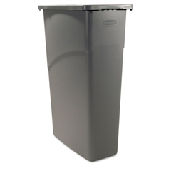 Rubbermaid Commercial Slim Jim Waste Container, Rectangular, Plastic, 23gal, Gray