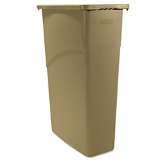 Rubbermaid Commercial Slim Jim Waste Container, Rectangular, Plastic, 23gal, Beige