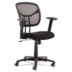 Swivel/Tilt Mesh Task Chair, Height Adjustable T-Bar Arms, Black/Chrome