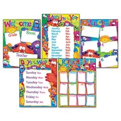 Learning Chart Combo Pack, Furry Friends Classroom Basics, 17w x 22, 5/Pack