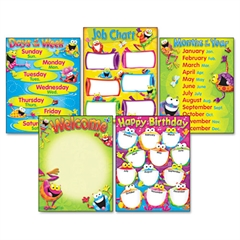 TREND Learning Chart Combo Pack, Frog-tastic! Classroom Basics, 17w x 22, 5/Pack