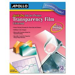 Apollo Inkjet Printer Transparency Film, Removable Sensing Stripe, 50 Sheets/Box