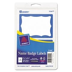 Printable Self-Adhesive Name Badges, 2 1/3 x 3 3/8, Blue Border, 100/Pack