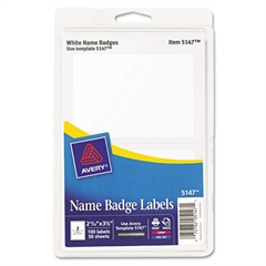 Avery Printable Self-Adhesive Name Badges, 2-11/32 x 3-3/8, White, 100/Pack