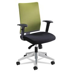 Safco Tez Series Manager Synchro-Tilt Task Chair, Green Mesh Back, Black Fabric Seat