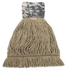 Boardwalk Patriot Looped End Wide Band Mop Head, Large, Green/Brown, 12/Carton