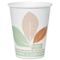 SOLO Cup Company Bare PLA Hot Cups, White w/Leaf Design, 8oz, 500/Carton