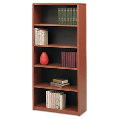 Safco Value Mate Series Metal Bookcase, Five-Shelf, 31-3/4w x 13-1/2d x 67h, Cherry