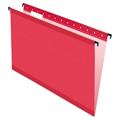 Pendaflex SureHook Poly Laminate Hanging Folders, Legal, 1/5 Tab, Red, 20/Box
