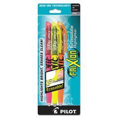 Pilot Frixion Lite Erasable Highlighter, Assorted Ink, Chisel, 3/Pack
