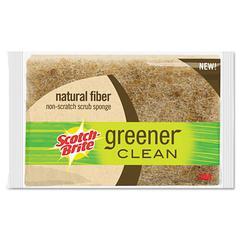 "Light-Duty Natural Fiber Scrub Sponge, 4 1/2 x 2 7/10, 4/5""Thick, Natural"