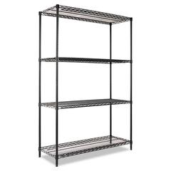 Industrial Heavy-Duty Wire Shelving Starter Kit, 4-Shelf, 48w x 18d x 72h, Black