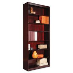 Alera Square Corner Wood Veneer Bookcase, Seven-Shelf, 35-5/8 x 11-3/4 x 84, Mahogany