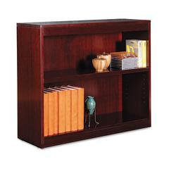 Alera Square Corner Wood Veneer Bookcase, Two-Shelf, 35-5/8w x 11-3/4d x 30h, Mahogany