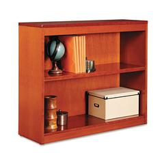 Alera Square Corner Wood Bookcase, Two-Shelf, 35-5/8w x 11-3/4d x 30h, Medium Cherry