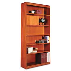 Alera Square Corner Wood Bookcase, Six-Shelf, 35-5/8w x 11-3/4d x 72h, Medium Cherry