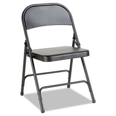 Steel Folding Chair with Two-Brace Support, Graphite, 4/Carton