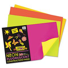 Neon Construction Paper, 76 lbs., 12 x 18, Assorted, 20 Sheets/Pack