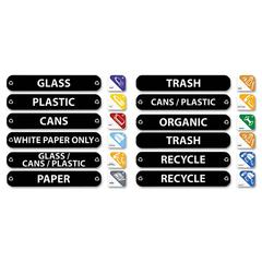 Rubbermaid Commercial Recycle Label Kit, 44 Labels in Three Languages, 8 x 1-1/2