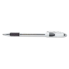 Pentel R.S.V.P. Stick Ballpoint Pen, 1mm, Trans Black Barrel, Black Ink, Dozen