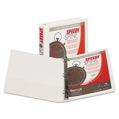 "Speedy Spine Heavy-Duty D-Ring View Binder, 11 x 8 1/2, 1"" Cap, White"