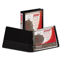 "Samsill Speedy Spine Heavy-Duty D-Ring View Binder, 11 x 8 1/2, 1"" Cap, Black"