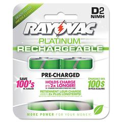 Rayovac Recharge Plus NiMH Batteries, D, 2/Pack