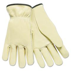 Full Leather Cow Grain Driver Gloves, Tan, Large, 12 Pairs