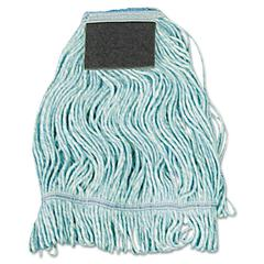Mop Head, Loop-End, Cotton With Scrub Pad, Medium, 12/Carton