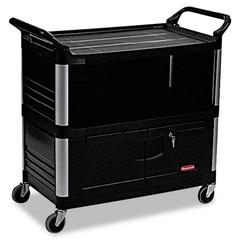 Rubbermaid Commercial Xtra Equipment Cart, 300-lb Cap, Three-Shelf, 20-3/4w x 40-5/8d x 37-4/5h, Black