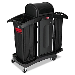 Rubbermaid Commercial High-Security Housekeeping Cart, Two-Shelf, 22 x 51-3/4 x 53-1/2, Black/Silver