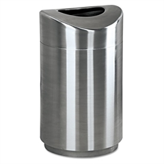 Rubbermaid Commercial Eclipse Open Top Waste Receptacle, Round, Steel, 30gal, Stainless Steel