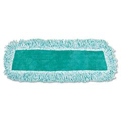 Rubbermaid Commercial Standard Microfiber Dust Mop With Fringe, Cut-End, 18 x 5, Green, 12/Carton