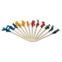 "Regular Cellophane-Frill Wood Picks, 2 1/2"", Assorted, 1000/Box, 10 Boxes/Carton"