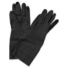 """Boardwalk Neoprene Flock-Lined Gloves, Long-Sleeved, 12"""", Large, Black, Dozen"""