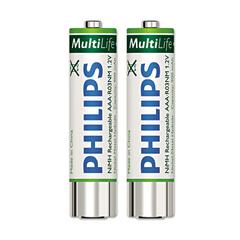 Philips Rechargeable NiMH Batteries, AAA, 2 per Pack