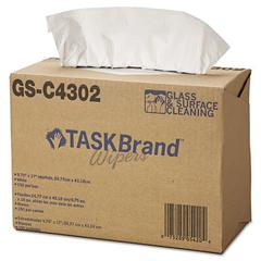 TASKBrand Glass & Surface Wipers, 4Ply, 9.75 x 16.75, White, 150/Box, 6 BX/Ct
