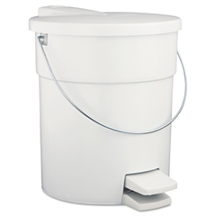Indoor Utility Step-On Waste Container, Round, Plastic, 4.5gal, White