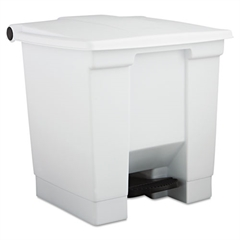 Rubbermaid Commercial Indoor Utility Step-On Waste Container, Plastic, 8gal, White
