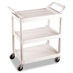 Rubbermaid Commercial Service Cart, 200-lb Cap, Three-Shelf, 18-5/8w x 33-5/8d x 37-3/4h, Off-White