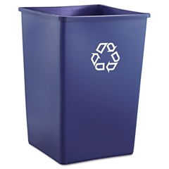 Rubbermaid Commercial Recycling Container, Square, Plastic, 35gal, Blue