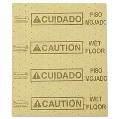"Rubbermaid Commercial Over-the-Spill Pad, ""Caution Wet Floor"", Yellow, 16 1/2"" x 20"", 25 Sheets/Pad"